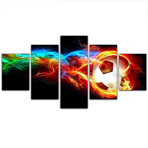 5 Panels Canvas Wall Art-Colorful Flame Football Picture Prints Painting for Soccer Fan Home Decor Framed,Small Size 100cmX55cm,Ready to hang by GreatHomeArt