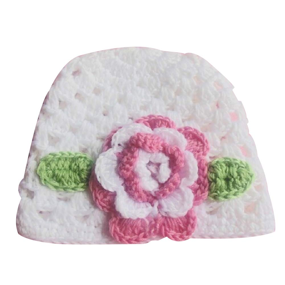 eroute66 Newborn Baby Girl Hollow Out Flower Knitted Cap