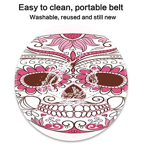 Round Mouse Pad Mousepad with Sugar Skull Decor,Mexican Ornaments Calavera Catrina Inspired Folk Art Macabre,Pink Light Pink White Pattern Gel Rubber for Gaming Office - ()