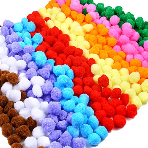 Caydo 600 Pieces 1 Inch Pom Poms for Hobby Supplies and DIY Creative Crafts Decorations, Assorted Colors -