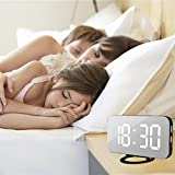 Yeefant High Sensitive Light Sensor LED Digital Alarm Clock With USB Port For Phone Charger Touch-Activited Snooze,Outlet Powered And Battery for Iphone and Android Phone Charging,White,EU Charger