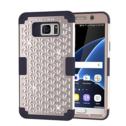 (S7 Case, Galaxy S7 Case, Speedup Diamond Studded Crystal Rhinestone 3 in 1 Hybrid Shockproof Cover Silicone and Hard PC Case for Samsung Galaxy S7 SM-G930 (Gold + Black))