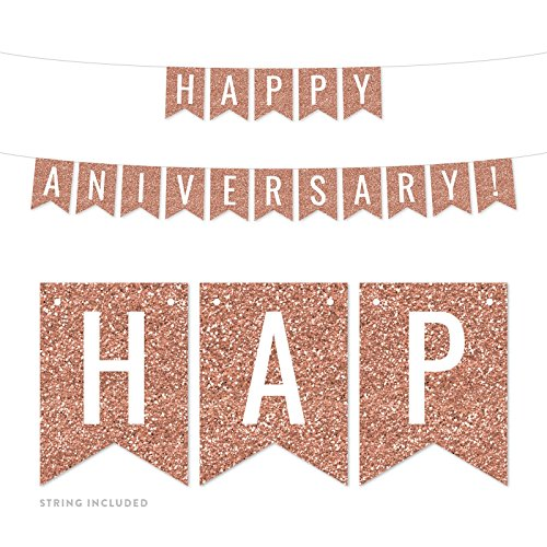 (Andaz Press Rose Gold Faux Glitter Background Wedding Anniversary Party Banner Decorations, Happy Anniversary!, Approx 5-Feet, 1-Set, Birthday Milestone Champagne Colored Hanging Pennant Decor)