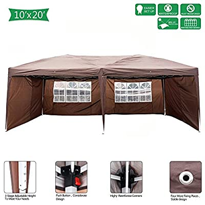 Festnight 10' x 20' Garden Outdoor Gazebo Canopy with 4 Sides Removable Walls and Windows Folding Height Adjustable Heavy Duty Waterproof Patio Party Wedding Tent BBQ Shelter Pavilion Cater Events: Sports & Outdoors