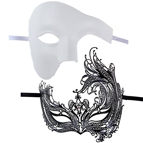 [Couples Pair Full Venetian Masquerade Ball Masks Set Party Costume Accessory (black&white)] (Couple Costumes Black And White)