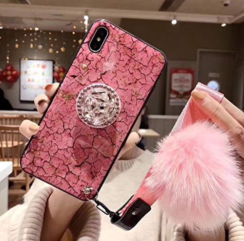 VANVENE iPhone 7 Plus/8 Plus, X/XS, Xs Max case, Fashion INS Pink Rhinestone Marble Stripe iPhone Case with Hair Ball Lanyard and Bracket. (iPhone X/XS)