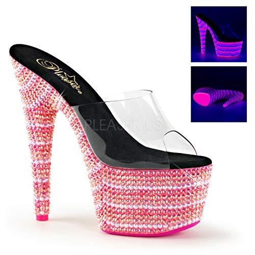 Bejeweled Slide (Pleaser Women's Bejeweled 701UV Slide Sandals, Pink Synthetic, 9 M)