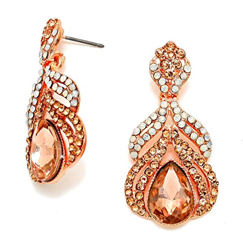 Chic Crystal Arabian Crystal Evening Rose Gold Peach Opal Earrings Women Jewelry -