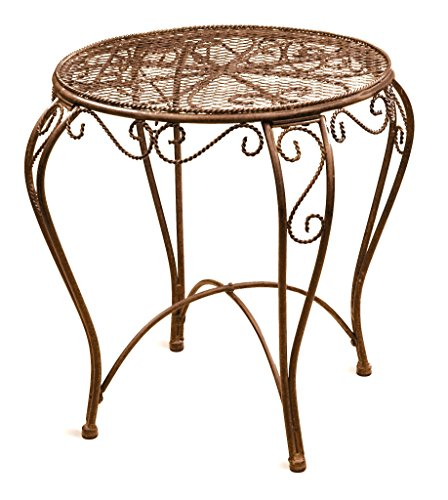 "Deer Park TB105 Imperial Table with Protective Rubber Feet - Measures 17"" Diam x 18""H Natural patina powder-coated finish Solid steel 10 Lb construction - patio-tables, patio-furniture, patio - 51GMvRLqdsL -"