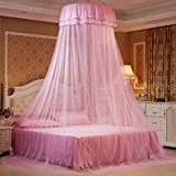 Mosquito Net Dome, Petforu Princess Bed Canopies Netting Elegant Lace with 2 Butterflies for decor - Pink