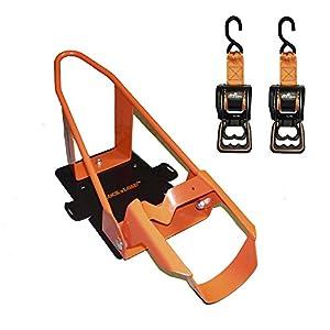 Lock 'N Load (BK1000) Orange/Black Deluxe Motorcycle Wheel Chock Combo Kit