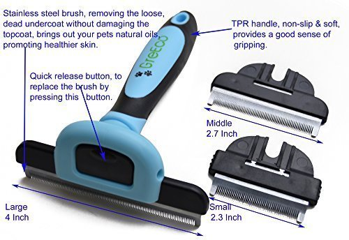 GreEco 3-in-1 Professional Deshedding Tool & Pet Grooming Brush, Including 3 Size brushes, For Small, Medium & Large Pets, Especially Excellent for Dogs + Cats With Short or Long Shedded Hair. Dramatically Reduces Shedding Hair By Up To 90% In Minutes. Pr