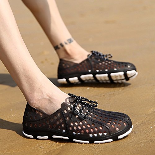 Primavera Homens Sapatos Orifício Superior Anti-derrapante Sandálias Respirável Sapatos De Praia De Lazer Sapato De Malha, Preto, Uk = 9, Eu 43 1/3
