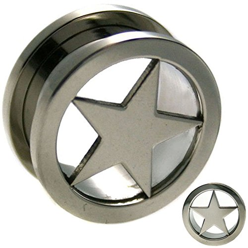 Surgical Steel Steel Star Design Tunnel Screw On Plug Sold As Pair GA8S (0g - 8mm) (Design Ear Plug)