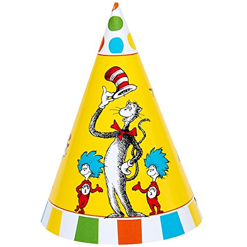 Dr Seuss Cat in the Hat Party Supplies - Cone Hats (8) (Cat In The Hat Thing 1)