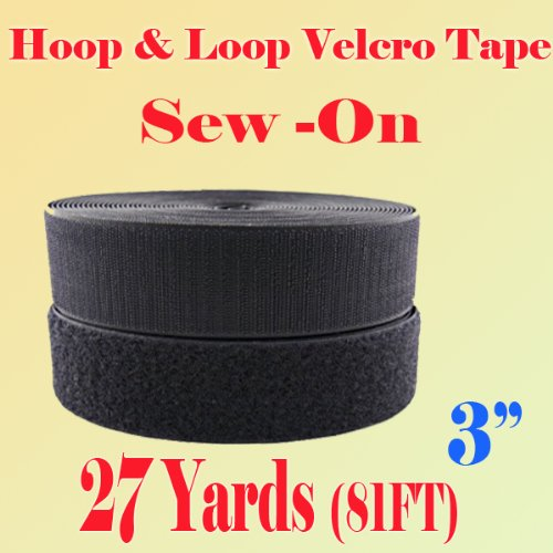 3'' (Inch) Width Black or White Sew on Hook & Loop - Premium Grade Non-adhesive Sew-on Style Sold Includes Hook and Loop Both Strips Interlocking Tape Sold By 5, 10, 27 Yards (Black - 27 Yards)