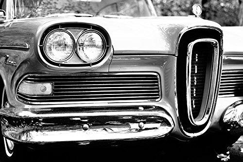 Laminated 36X24 Inches Poster  Antique Automobile Automotive Bumper Car Classic Edsel Ford Headlight Hood Luxury Sedan Transportation System Vehicle Vintage