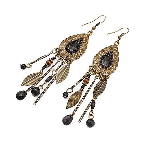 Toaimy Fashion Ear-Rings Vintage Metal Earrings Oval Leaf Earrings Indian Style Tassel Earrings ()