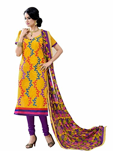Vibes Women's Silk Sequined Unstitched Salwar Suit Dress Material – Free Size, Yellow