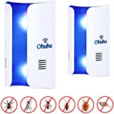 Ohuhu Pest Repeller, Plug in Electronic Electromagnetic & Ultrasonic Pest Repellent, Pest Control Insect Repellent for Spiders, Mosquitoes, Ants, Rats, Cockroaches, Fruit Flies, Rodents, 2 Pack