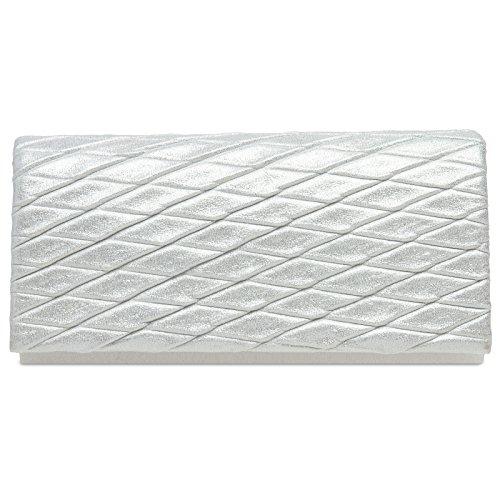 CASPAR Clutch Modern Glitter Elegant TA396 Evening Ladies Bag with Lozenge Pattern White aSxFaqr
