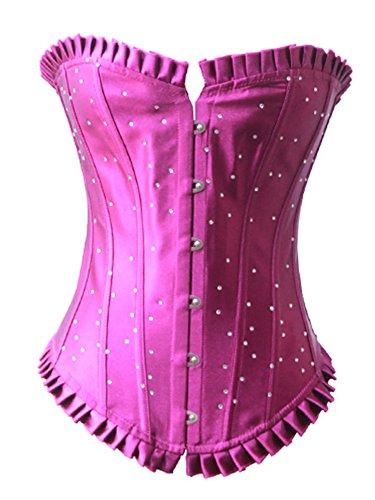 Pinkyee Mujer de hebilla de acero de lentejuelas Sexy corsé del Palacio rosa (b)