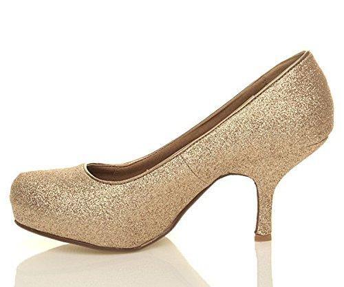 à Femmes chaussures Doré travail escarpins moyen Pailleté élégant talon bas taille soignée grqp7a8wg