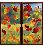 Coavas 174 Pcs Maple Window Clings 8 Sheets Fall Leaves Window Sticker Thanksgiving Decorations f...