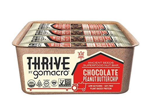 Thrive by GoMacro Ancient Seeds Superfood Nut Bars, Chocolate Peanut Butter Chip, 1.4 Ounce Bars (Pack of 12)