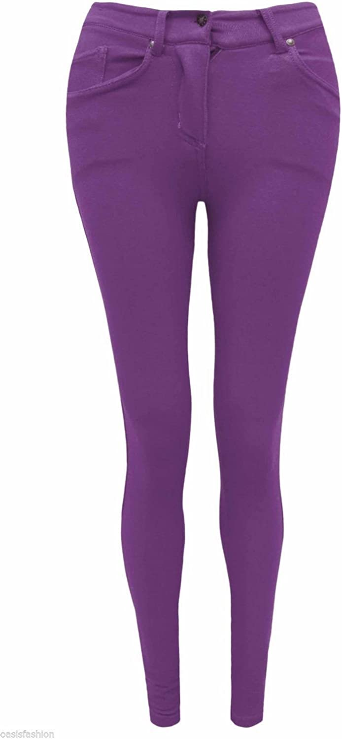 Urban Diva Fashion Oasis Ladies Skinny Coloured Zip UP Jeggings Stretch Trouser Jeans Leggings Sizes 8 10 12 14 16 18 20 Also in Big Sizes 22 24 26