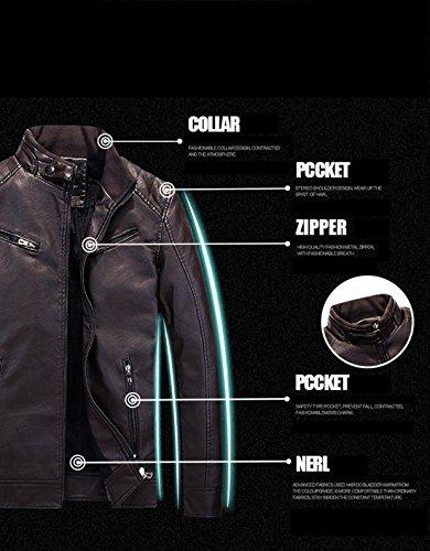 Coffee Solido Giacca Di Cappotti In Pelle Maschile Moda Xxl Casual Color Qualità Alta Giacche wxXPAqxFn