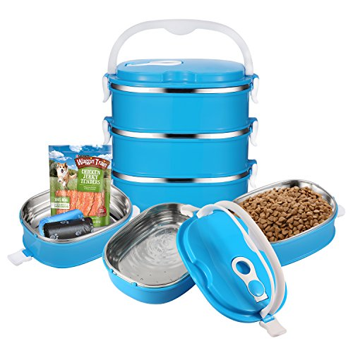 Travel Pet Bowl Set Stainless Steel Travel Dog Bowls Portable Dog Food Bowl Spill Proof Dog Water Bowl Pet Treats Toys Poop Bags Leash Travel Container for Dogs Cats Outdoor Feeding - 3 Blue Dog Bowls