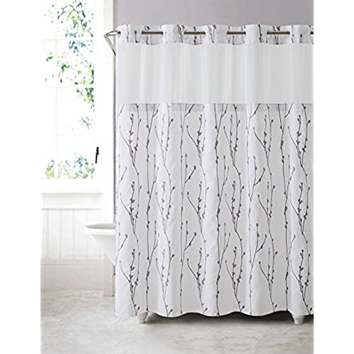 Beau Hookless RBH40MY080 Cherry Bloom Shower Curtain With Peva Liner   White  Lilac