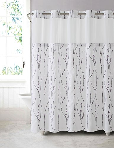 Hookless RBH40MY080 Cherry Bloom Shower Curtain with Peva Liner -  White Lilac (Window Shower Liner compare prices)