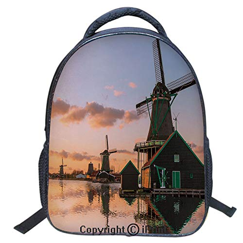 (3D Print Backpack,Suitable for Kids,School Backpack,Book bags,Travel Hiking Bag Backpack Collection Bags for Teen Girls Kids,16 inch,Traditional Village with Canal Waterfront Dutch Architecture Scenic)