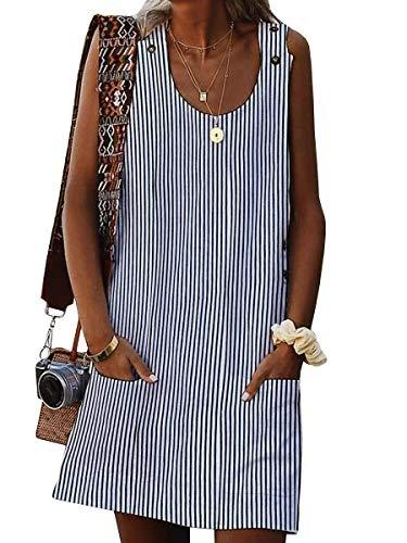 Valphsio Women Stripe Tank Dress Crew Neck Summer Short Shift Dress with Pocket