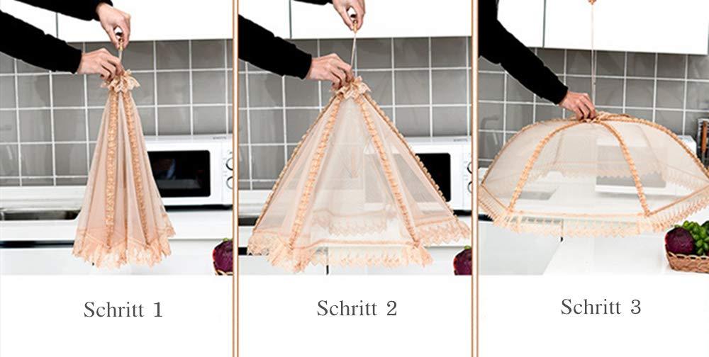 Hexagon GLITZFAS Fliegenhaube Spitzen-Mesh Abdeckung f/ür Speisen faltbar Speiseschirm Insektenschutzhaube
