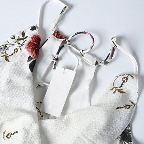 Blanc À Plage Fantaisie Courte Ete Bretelle Imprimée Décolleté Angelof Robe De Femme Débardeur Dentelleaille Évasée fxEPw6