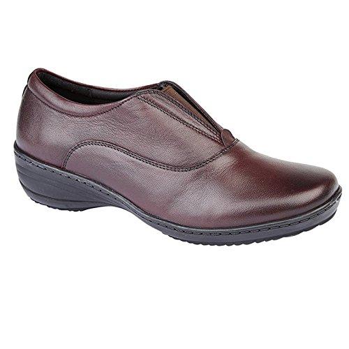 Mod Comfys Memory Foam Women's Centre Gusset Casual Slipon Leather Shoes Burgundy UK 6 8udC4ut