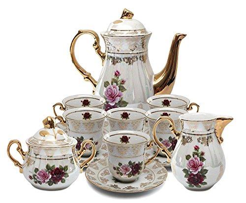 Royalty Porcelain 17pc Floral Tea Set, 24K Gold-Plated Original Cobalt Tableware, Service for 6 (Set Cabinet China)