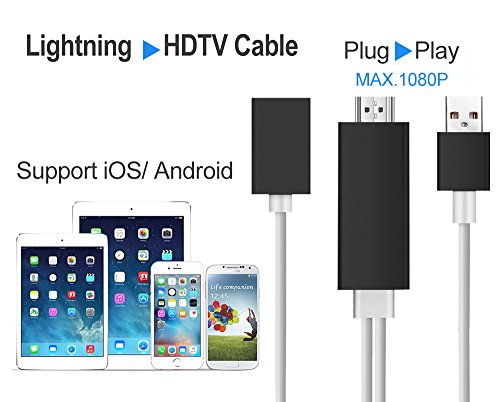 White cat Lightning to HDMI Cable for iPhone & iPad & Samsung Smartphones, Boscheng Plug and Play Lightning & MHL to HDMI Adapter HDTV Adapter Cable for Screen Mirroring on HDTV Projector (black) (Samsung Tablet Hdmi Cable)