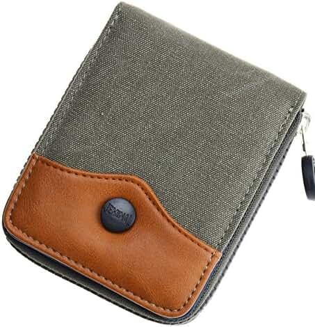 JEMINAL New Mens Canvas Zip-Around Wallets Purse