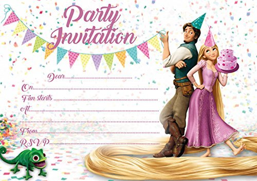 10 x Rapunzel Tangled Children Birthday Party Invitations by ABV Designs