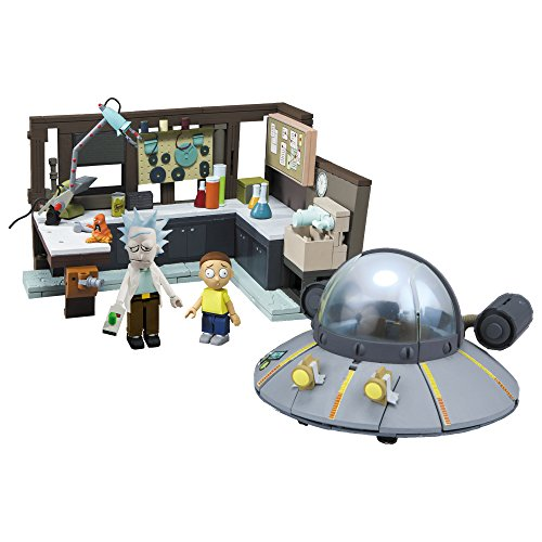 McFarlane Toys Rick and Morty Spaceship and Garage Large Construction Set Toy-Interlocking-Building - Safari Dangerous Series