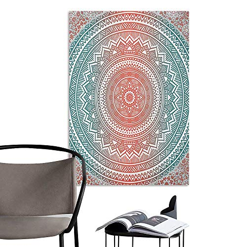 Wall Art Canvas Prints Teal and Coral Ombre Mandala Art Antique Gypsy Stylized Folk Pattern Mystical Cosmos Image Teal Coral Sofa Background Wall W20 x -