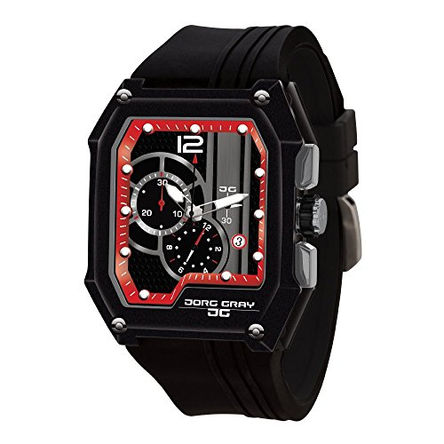 Jorg Gray JG7100-23 Men's Watch Chronograph Integrated Silicone Strap Black-Red Dial Rectangular Case by Jorg Gray