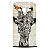 Foxercase Designs Giraffe On Newspaper Hipster Hard Back Case Cover for Samsung Galaxy Core Prime