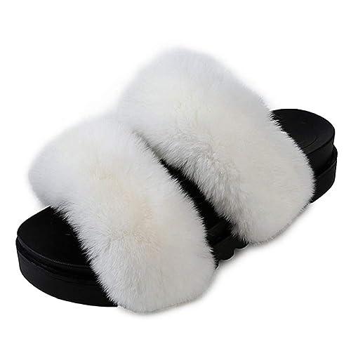 Flufy Zapatillas Home Niñas Piel Furry Lovely De Mujer uZkOXPTwil