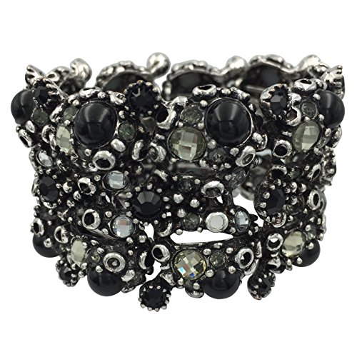 Gypsy Costume Clip (Large Wide Rhinestone Statement Big Cuff Bangle Bracelet (Bumpy Black Dot Silver Tone))