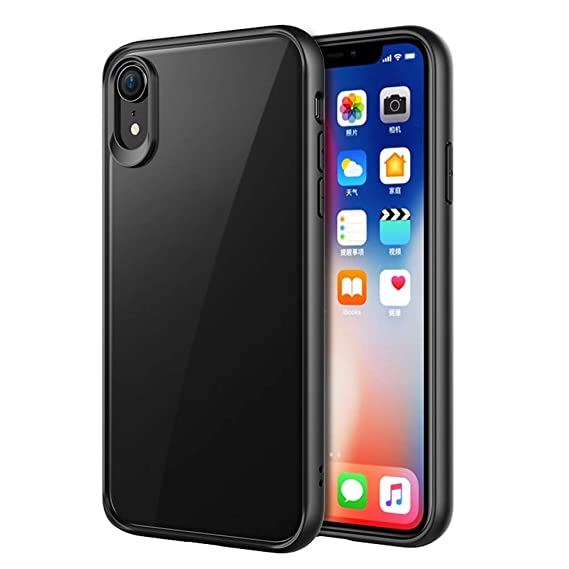 new style d05cf b31fa iPhone XR Case, Vinve Slim Anti-Scratch Shockproof Cover Clear Hard Back  Panel + TPU Bumper Protective Phone Case for Apple iPhone iiPhone XR (Black)